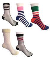 Ladies Transparent Sheer Striped Ankle Trouser Pop Socks UK SIZE 4-7