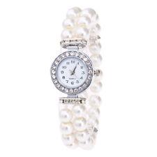 Fashion Women Ladies Watch Pearl Bracelet String and Crystals Quartz New