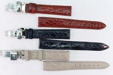 LORENZ Uhrenarnband 16mm Echtes Krokodilleder Blau Braun Beige Faltschließe