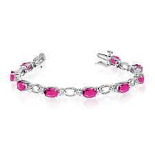 14k White Gold Natural Pink-Topaz And Diamond Tennis Bracelet