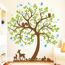 Wandtattoo Loft Baum Hase Rehkitz Vogel (4farbig) / Wandaufkleber Owl Uhu 10977