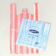 """100 X nuevo medio plástico Candy Stripe de calidad Chaleco carrier bags 10""""x15""""x18"""""""