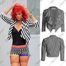 New Womens Black & White Striped Celeb Style Waterfall Short Blazer Jacket Coat