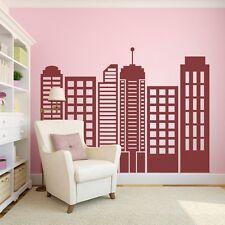 City Skyline Silhouette Wall Sticker Simple Geometric Vinyl Mural Art Decor Idea