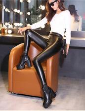 Women PU Faux Leather COTTON Lining BLACK High Waist  Leggings Pants