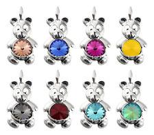 Colgantes de Oso de plata esterlina con cristales de Swarovski 1122 12mm * Muchos Colores