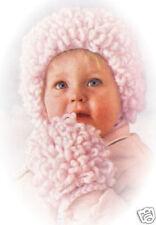 Loopy Baby Cap Hat Bonnet Mittens Crochet Pattern Vntg