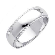 Real 14K White Gold Milgrain Fit Wedding Ring Band Mens Women 3Mm 4 5 6 7 8 Mm