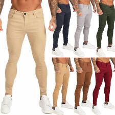 GINGTTO Men Chino Jean Skinny Colored Stretch Slim Fit Denim Pant Yellow Purple
