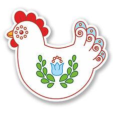 2 x 10cm Pretty Chicken Vinyl Sticker iPad Laptop Helmet Rooster Hen Bird #5481