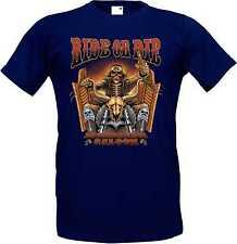 T-Shirt in navy blue with a Biker Chopper Old School Motif Model Ride or Die
