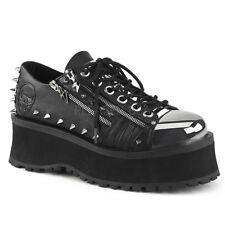 Demonia GRAVEDIGGER-04 Men's Black Vegan Leather Platform Lace-Up Oxford Shoes