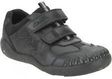 New Clarks Black 'Stompo Kid' Black Leather Infant Shoes UK 7 1/2 G / 8G / 9G