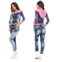 Foggi Jeans 2-Teiler Röhrenjeans Jeansjacke Hüftjeans Boyfriedjeans Blau XS-M