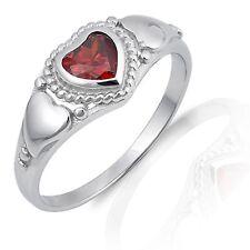 d93332d35f68 Granate Corazón Rojo Anillo Plata de Ley - January Piedra Natal