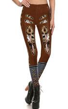 Legging effetto pelle marrone aperto sul ingranaggi,lacci e fermagli corsetto
