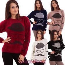 Maglione donna pullover ecopelliccia baffi hipster maniche lunghe nuovo S5925