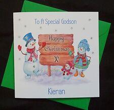 PERSONALISED Handmade CHRISTMAS CARD -  Cute Snowman Family - (x605)