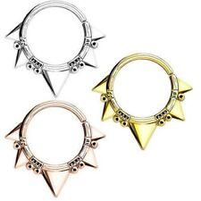 Septum Piercing Continuous Anillo Tribal triángulos y perlas