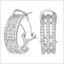 925 Sterling Silver Half Hoop Clear CZ Crystal Huggie French Clip Earrings