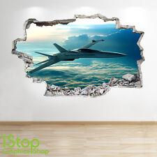 Jet avion autocollant mural 3D look-garçons enfants chambre à coucher ciel applique murale Z84