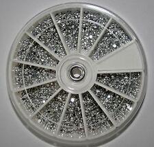 2800 Silber Nail Art Strasssteine im Rondell, Rund 1,5mm