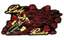 LADY RIDER ROSES PATCH P3690 biker girl jacket  women novelty iron on heat sewon