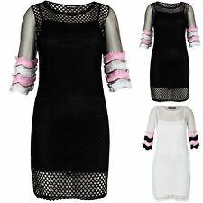 Womens Fish Net Mesh 3/4 Sleeve Coloured Ruffle Frill Round Neck Cami Vest Dress