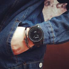 Rund Armbanduhren Steel Case Herren Damenuhr Leder Quartz Analog Uhr Wrist Watch