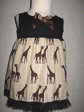 NEW CUTE Girls Black Brown Giraffe Smock Top Dress Goth Party  Gift,2,3,4,5,6