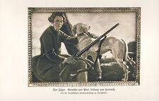Der Jäger Kunstdruck 1919 von Herterich Jagdhund Gewehr Jagd Etzenhausen Dachau