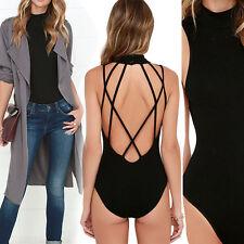 Black Open Back Sleeveless Choker Playsuit Romper Festival Summer Bodysuit S-L