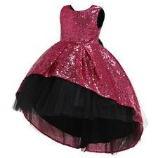 Girls Kids Sequins Dress Glitter Flower Bow Princess Wedding Bridesmaid Gift SPW