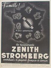 PUBLICITE ZENITH STROMBERG CARBURATEUR HUILEUR LES EQUIPEMENTS DE 1941 FRENCH AD