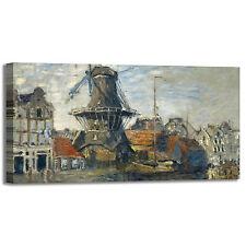 Monet mulino a vento 1 design quadro stampa tela dipinto telaio arredo casa