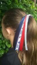 Team Colors Ribbon Ponytail Holder Made w/ New England Patriots Grosgrain Ribbon