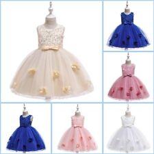 Kid Girl Flower Party Dress Wedding Formal Bridesmaid Tutu Baby Princess Dresses