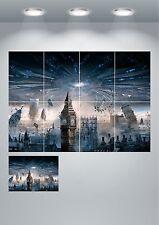 Skyline londinese ALIEN Space Ship GIGANTE Wall Art POSTER stampati