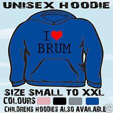I LOVE HEART BRUM UNISEX HOODIE HOODED TOP