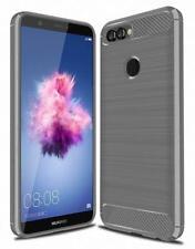 Para Huawei Y6 2018 Nuevo Fibra de Carbono Negro Gel Funda Teléfono + Pantalla