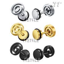 Ttstyle 8mm Surgical Steel Circle Fake Ear Plug Earrings Choose Colour
