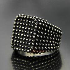Men's 316L Stainless Steel Round Dot Square Signet Ring Biker Silver Black