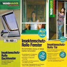 Fliegengitter Insektenschutz Rollo Fenster o. Tür Netz Klemmrollo Gitter Silber