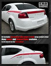 Dodge Avenger 2008-2014 Trunk Lid and Rear Quarter Stripes Decals (Choose Color)