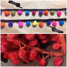 Jumbo Pom Pom Bobble Nappa Rainbow Multi Colore Trim TRECCIA Frange Fiocco Crafts