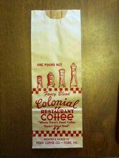 35 - 1940-50's Vintage Colonial Coffee Bags York, PA Ephemera Old Paper Display