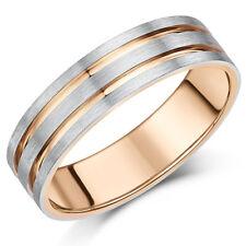 PALLADIO 950 E 9ct ROSA ORO ANELLO 6MM Uomo Bicolore anello