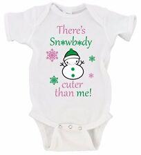 There's Snowbody Cuter Than Me Snowman Cute Merry Christmas Gerber Onesie
