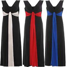 Womens Plus Size Grecian Knot Contrast Color Panel Soft Long Maxi Dress 16-26