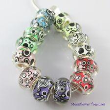 Bulk x5 Psychedelic Bubbles Resin European Beads fit Charm Bracelets Pick Colour